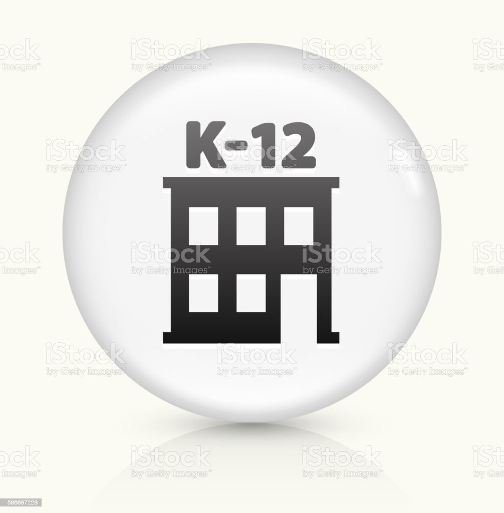 K-12 School icon on white round vector button vector art illustration