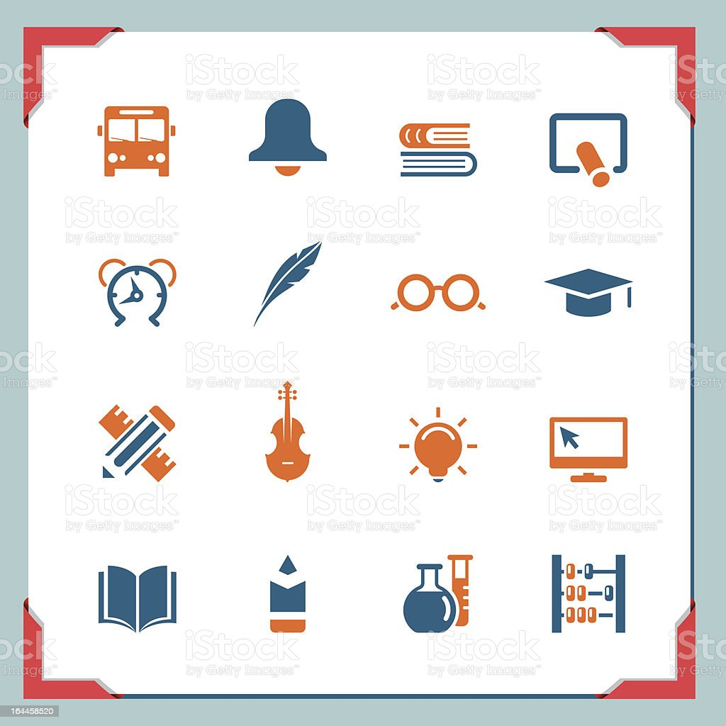 School icons 2 | In a frame series royalty-free stock vector art
