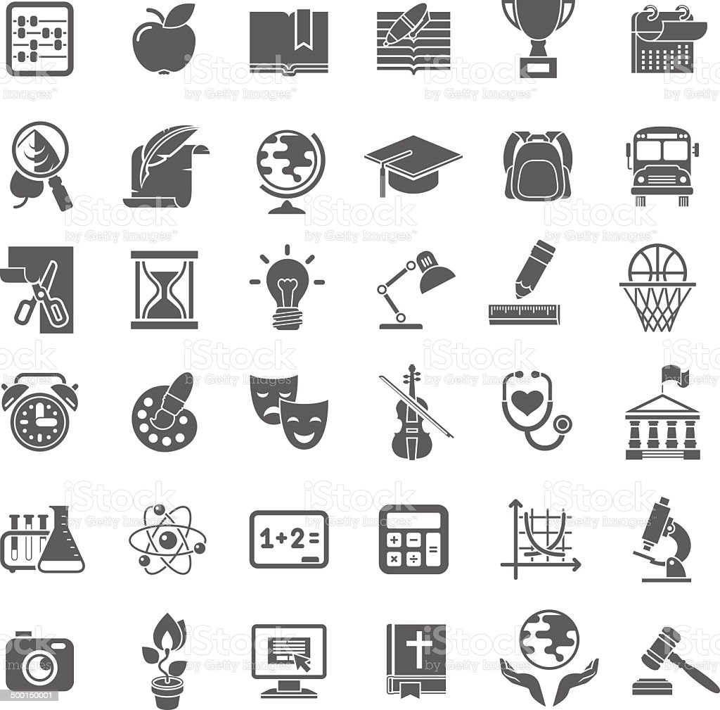 School Icons Flat Dark Outline Silhouettes vector art illustration