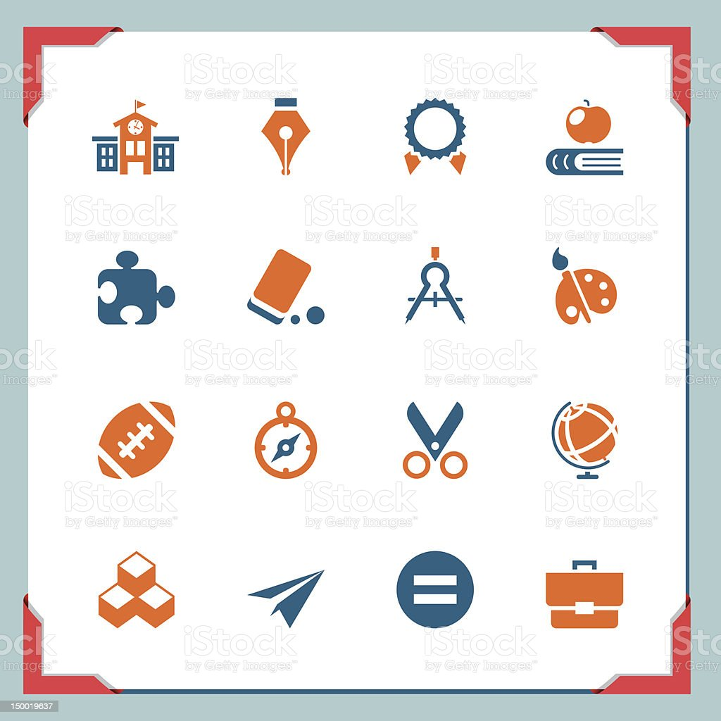 School icons | In a frame series royalty-free stock vector art