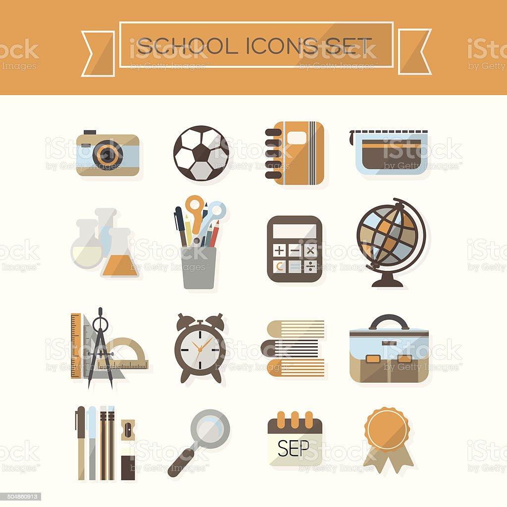 School icons set - Flat design vector art illustration