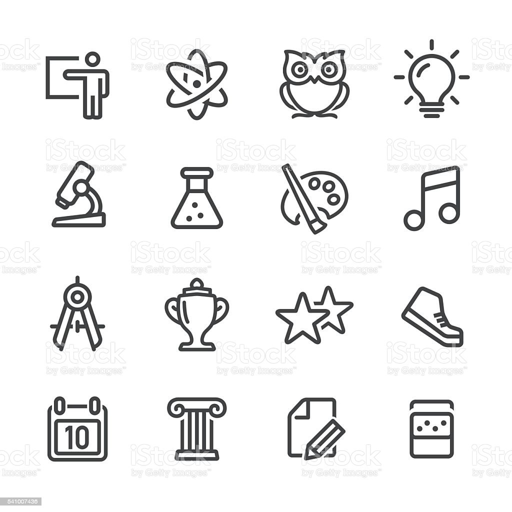 School Icons Set - Line Series vector art illustration