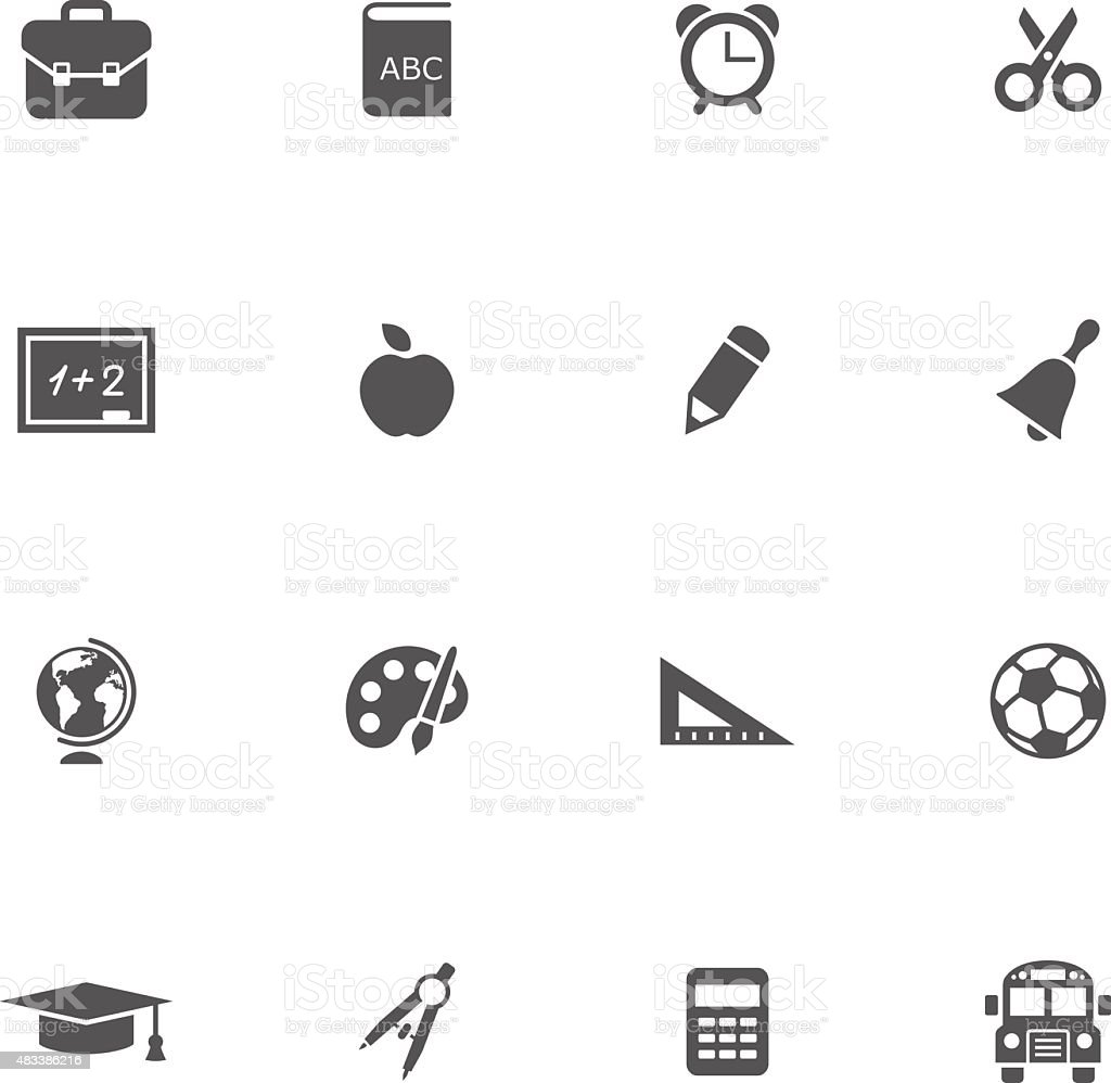 School icons set vector art illustration