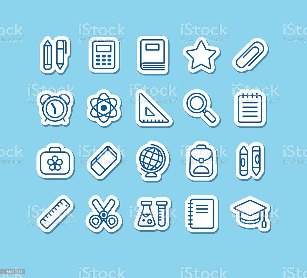 School icons vector art illustration