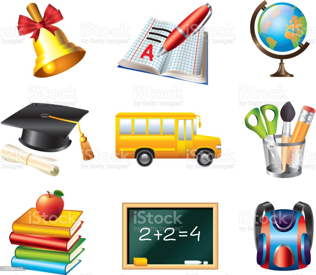 school icons vector set royalty-free stock vector art