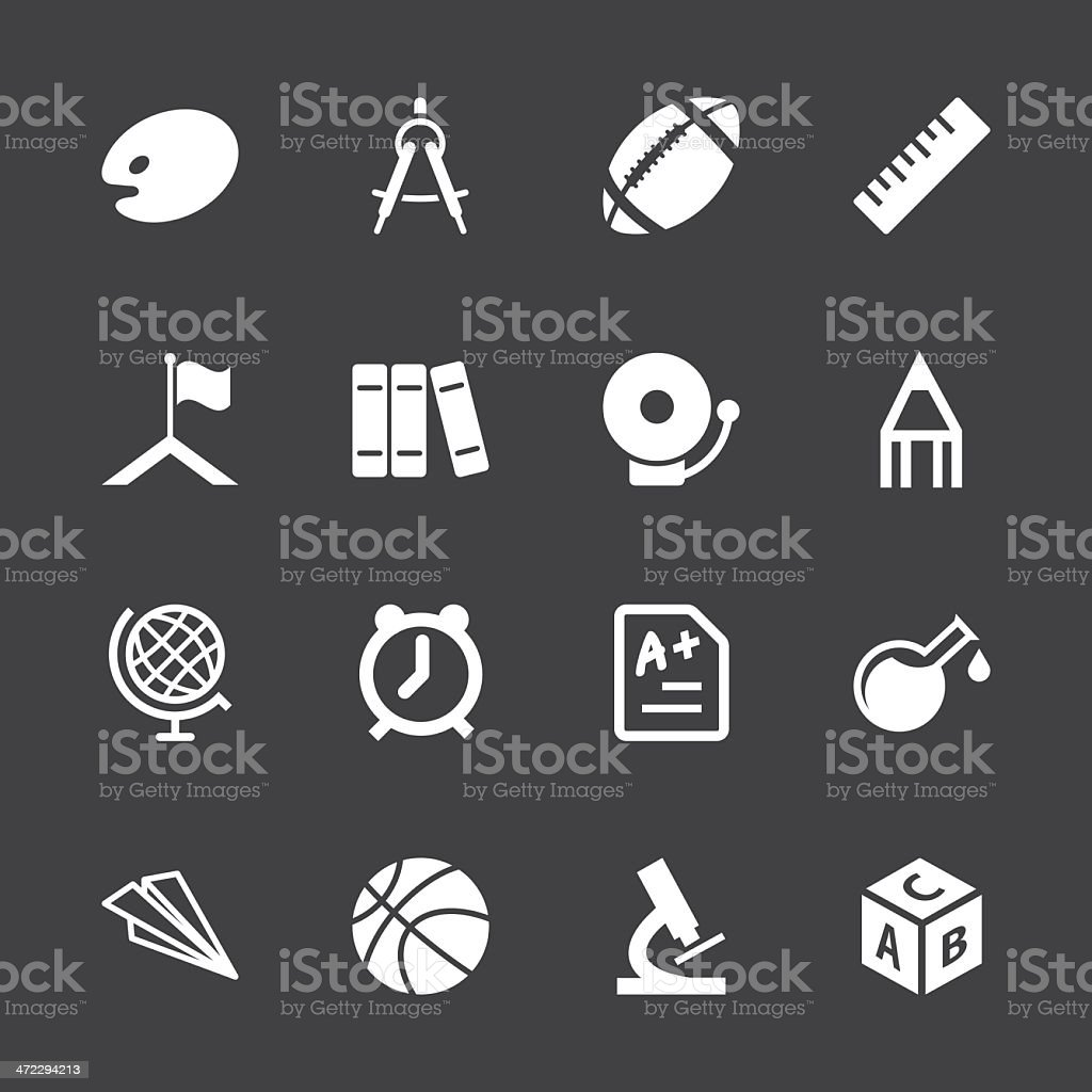 School Icons - White Series | EPS10 royalty-free stock vector art