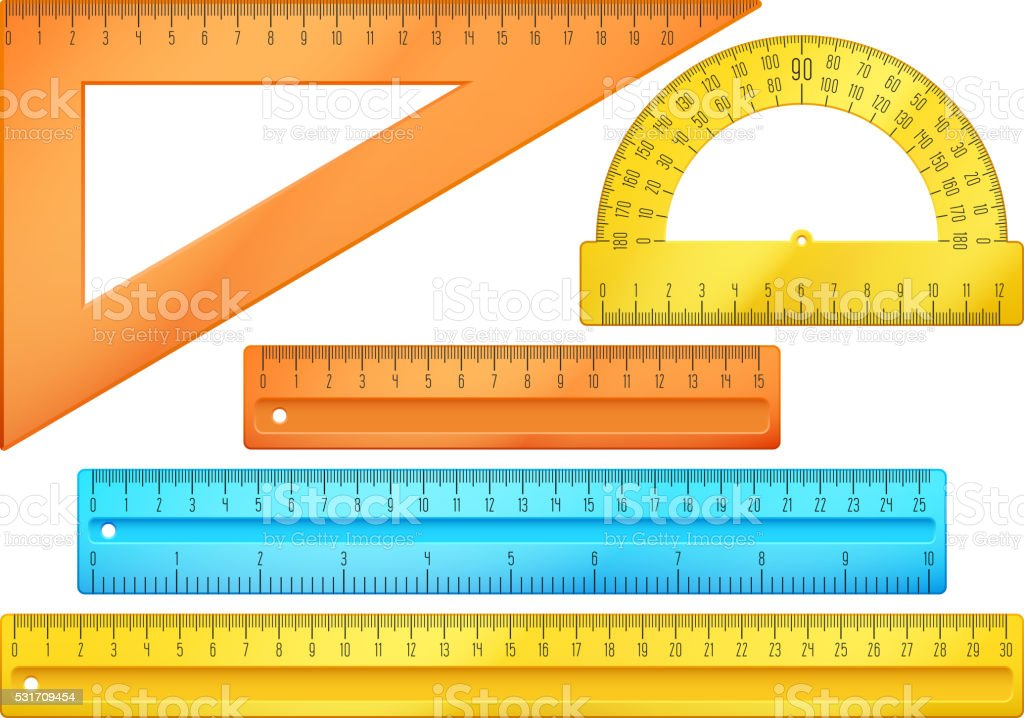 School instruments, rulers vector set vector art illustration
