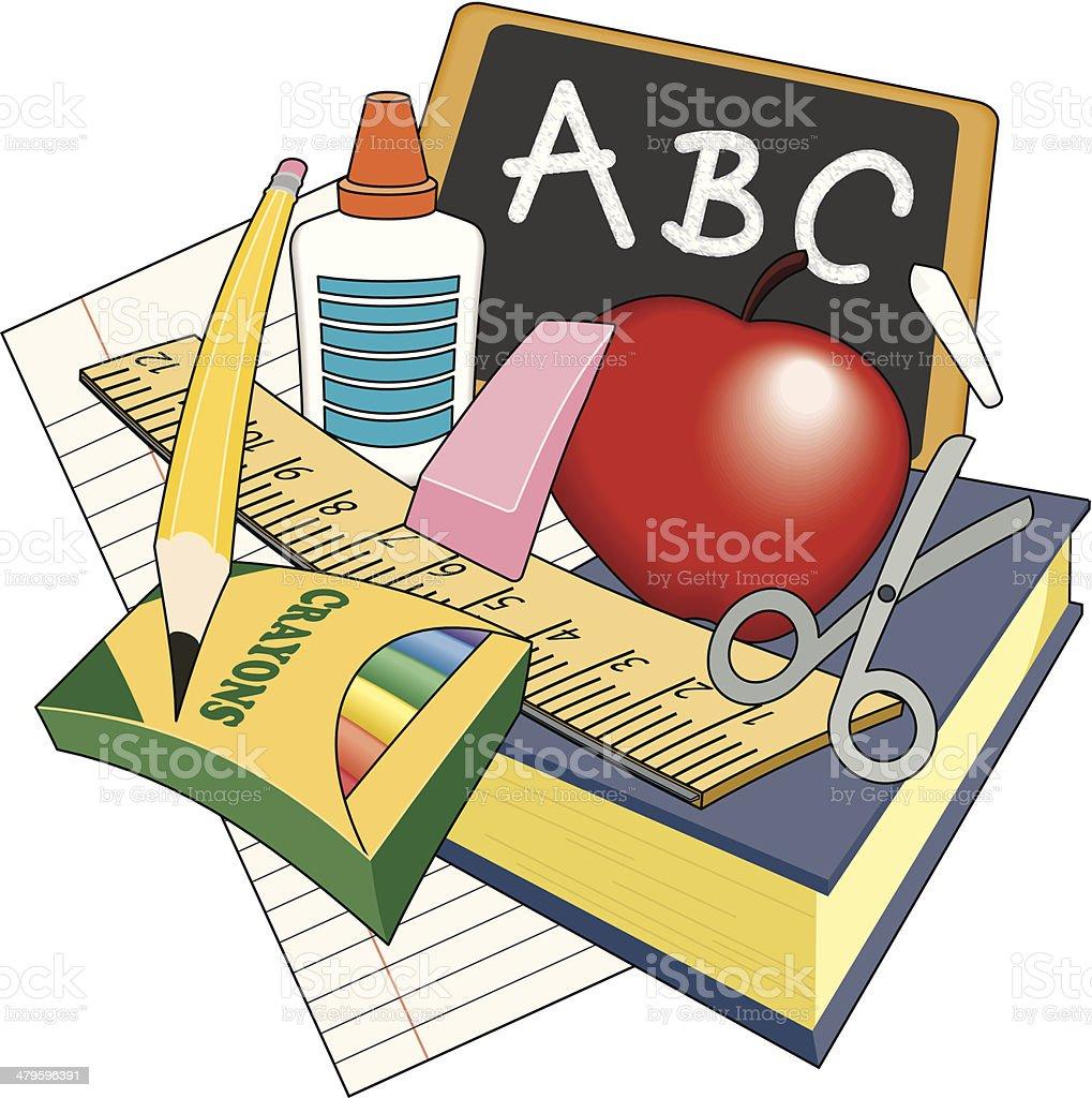 School Items C vector art illustration