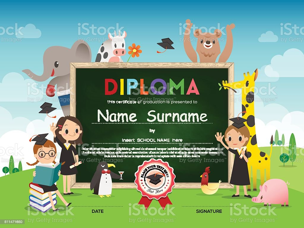 School Kids Diploma certificate template with animal cartoon frame vector art illustration