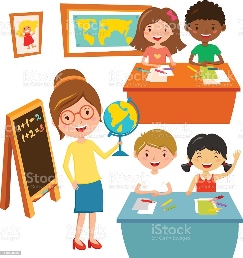 School kids education elementary school learning and people concept vector vector art illustration