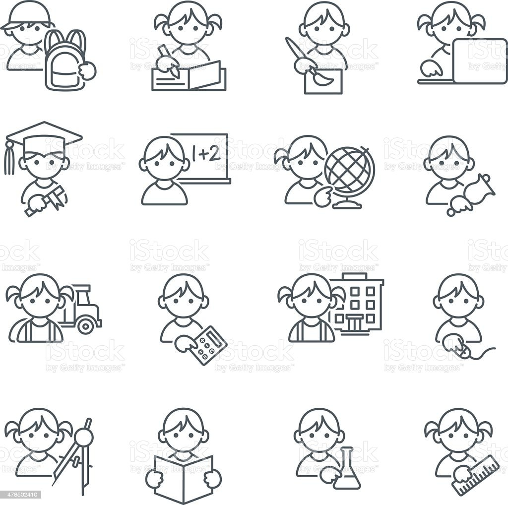 School Kids Education icons in thin lines vector art illustration