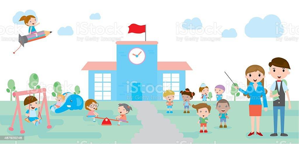 school, Kids go to school vector art illustration