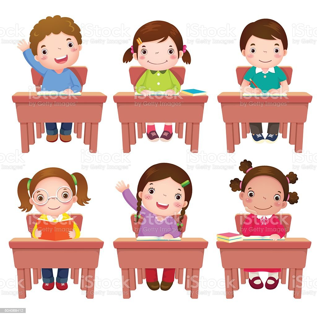 Tisch schule clipart  Schule Kinder Sitzen Am Tisch Vektor Illustration 504068412 | iStock