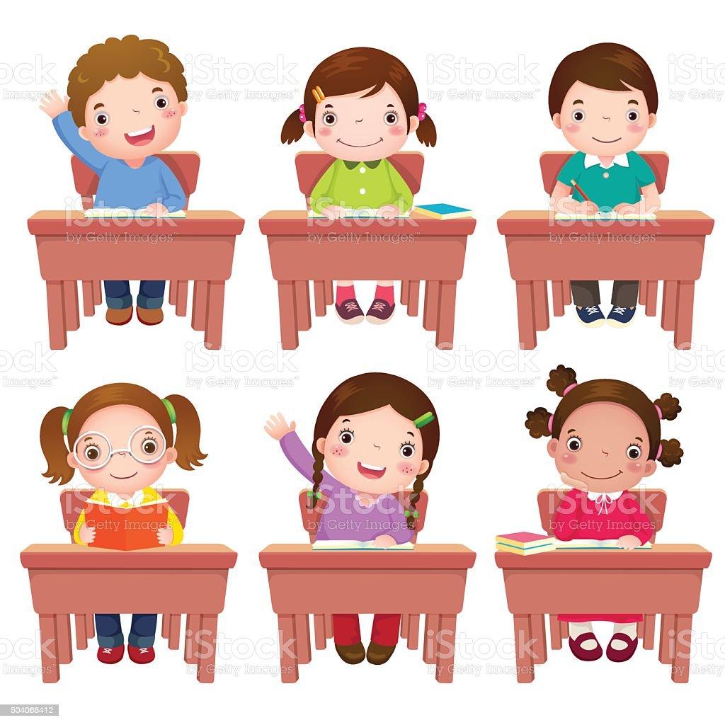 School kids sitting on table vector art illustration