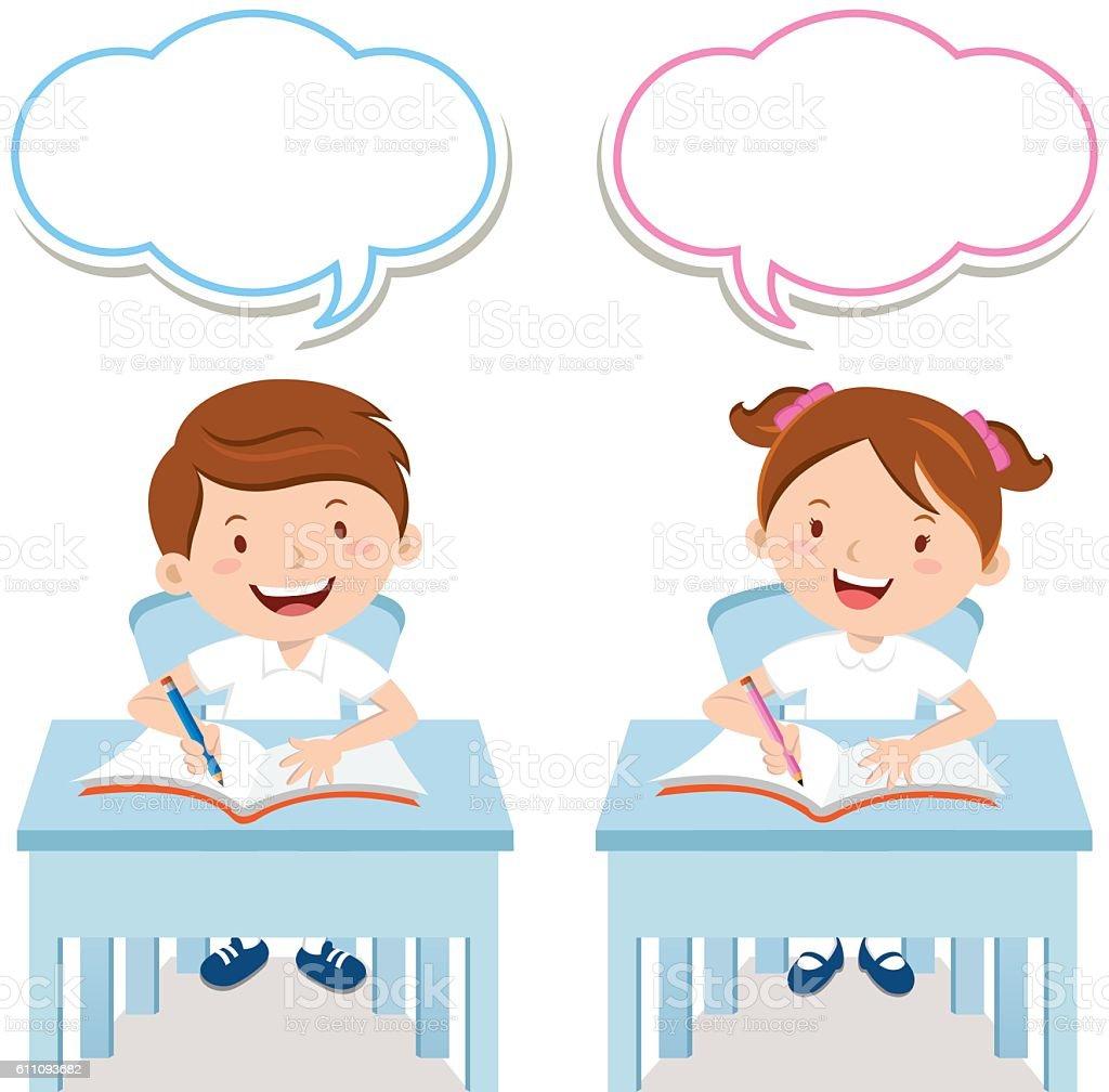 School kids study together vector art illustration