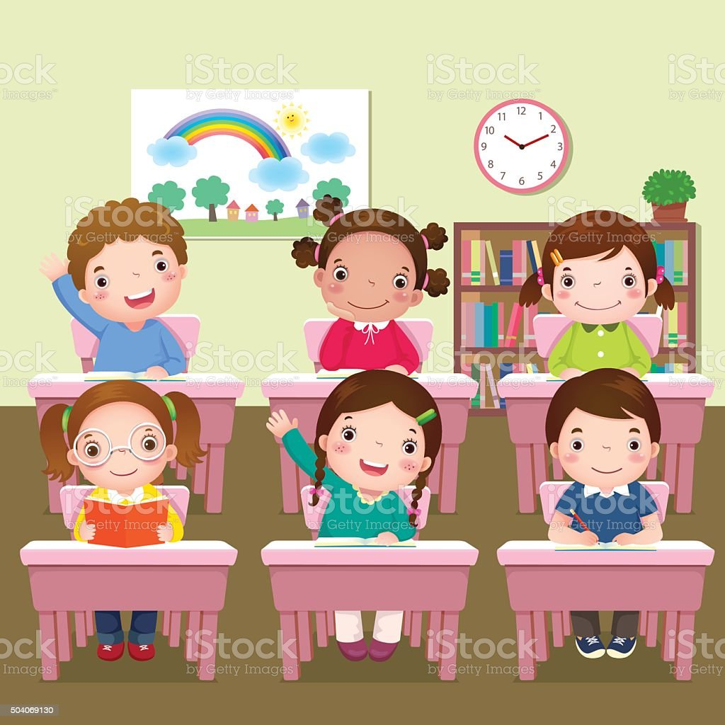 School kids studying in classroom vector art illustration