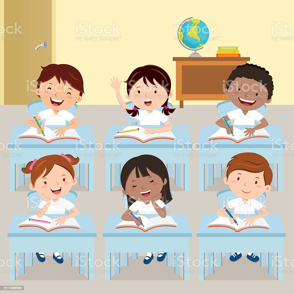 School kids studying in classroom vector art illustration