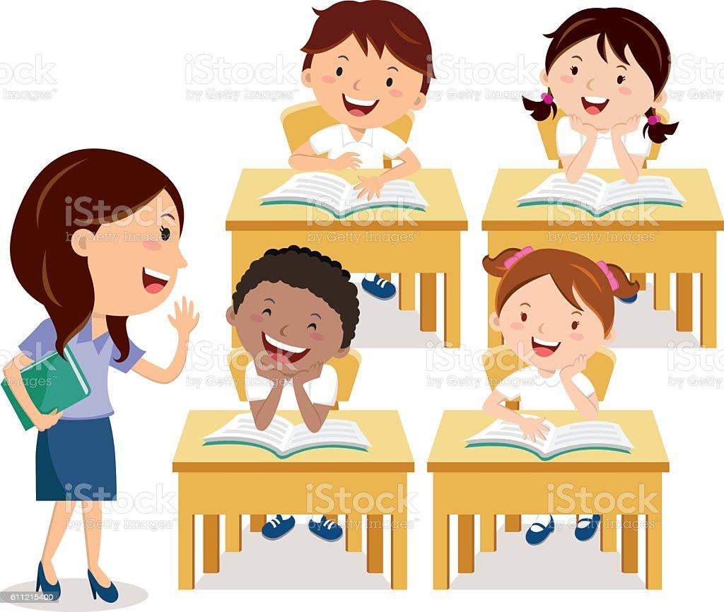 School kids studying with teacher vector art illustration