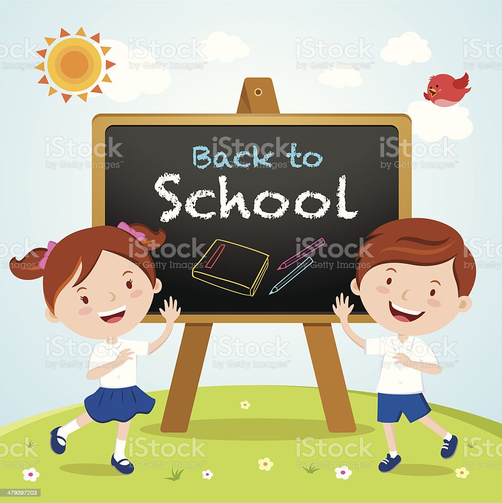 School kids with a sign board vector art illustration