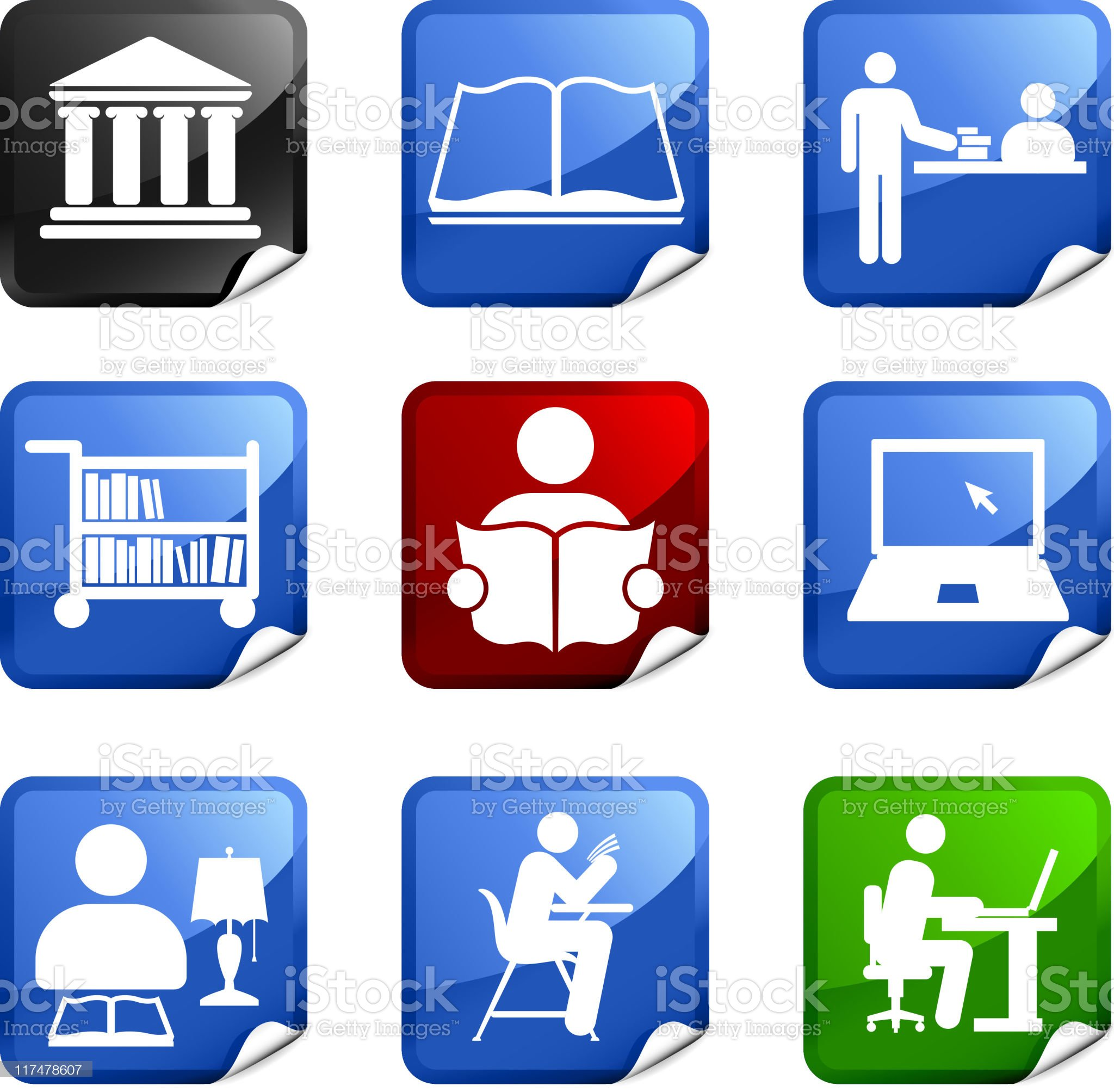 school library nine royalty free vector icon set royalty-free stock vector art