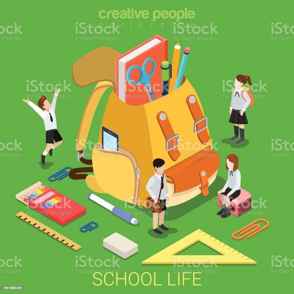 School life flat 3d isometry isometric primary education concept web vector illustration. Schoolboy schoolgirl stationery accessory around big rucksack backpack. Creative people collection. vector art illustration