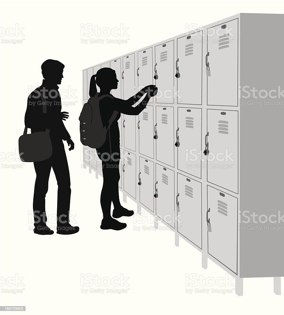School Lockers Vector Silhouette royalty-free stock vector art