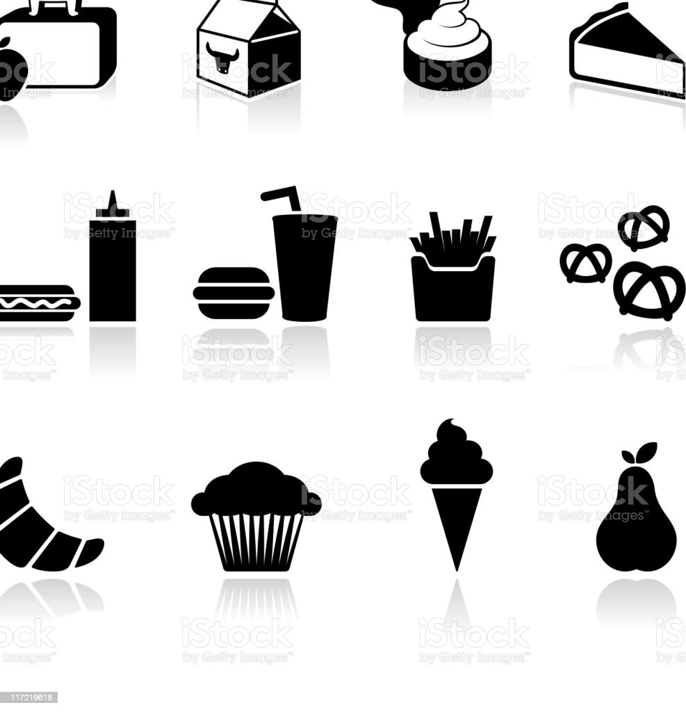 School lunch black and white icons vector art illustration