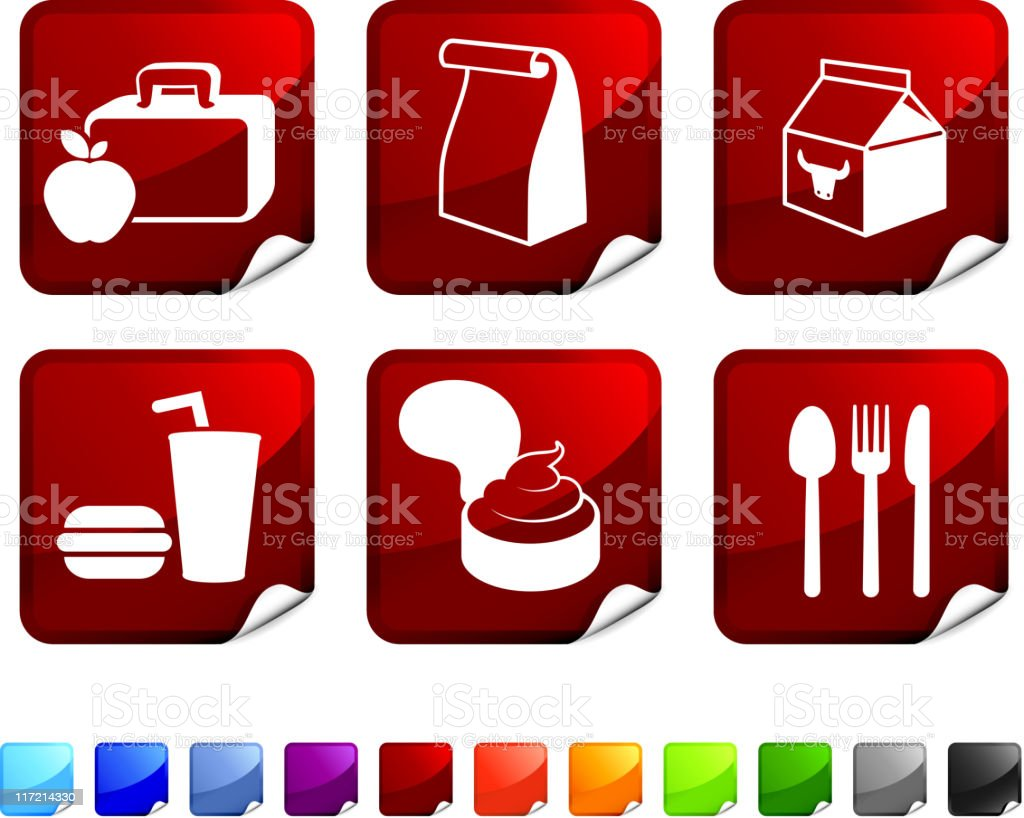 school lunch royalty free vector icon set vector art illustration