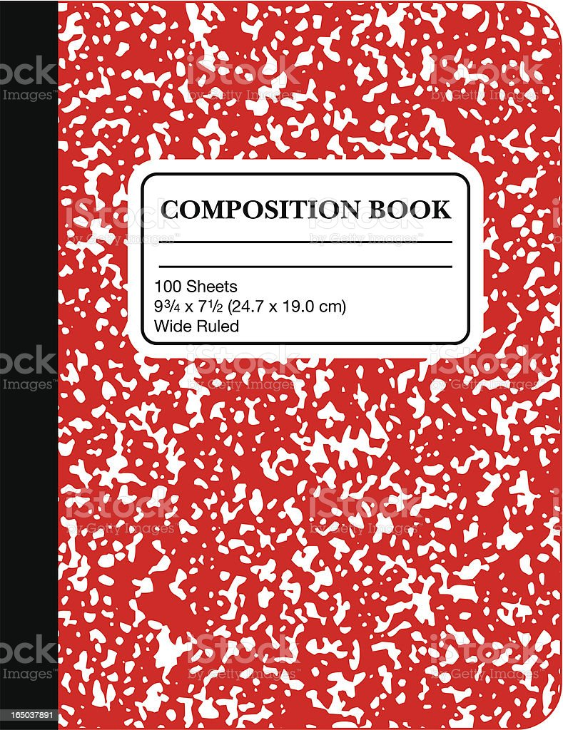 School Marble Composition Book -Red (vector) vector art illustration