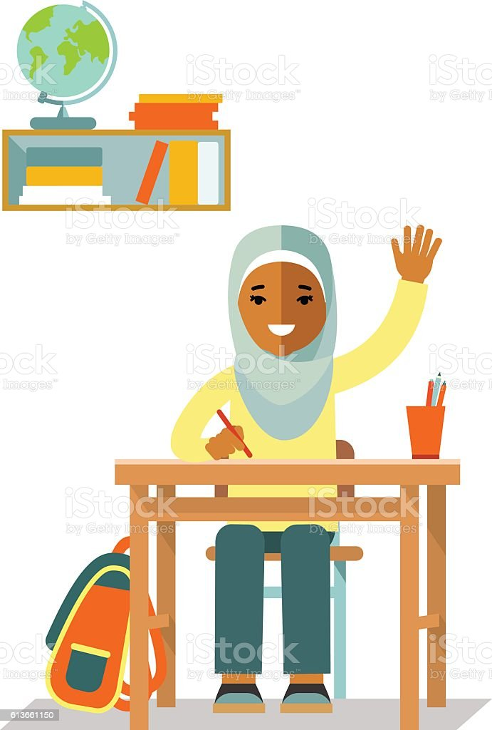 School muslim children pupil in flat style vector art illustration