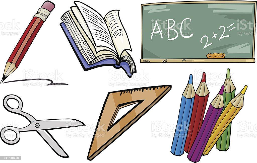 school objects cartoon illustration set royalty-free stock vector art