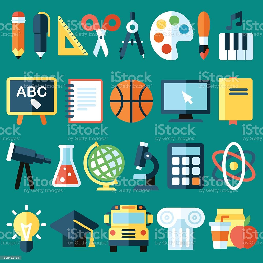 School objects vector art illustration