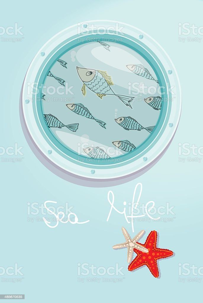 School of fish swimming past a ships porthole royalty-free stock vector art
