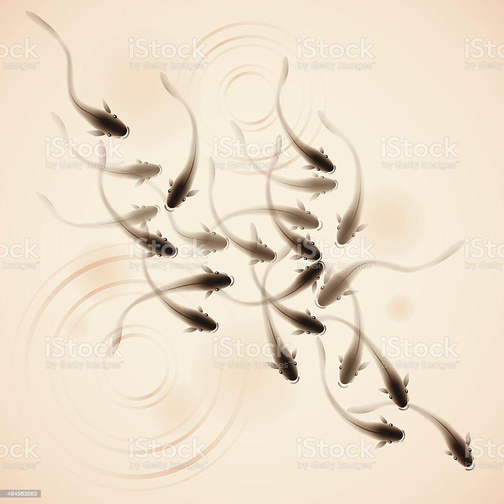 School of fish vector art illustration