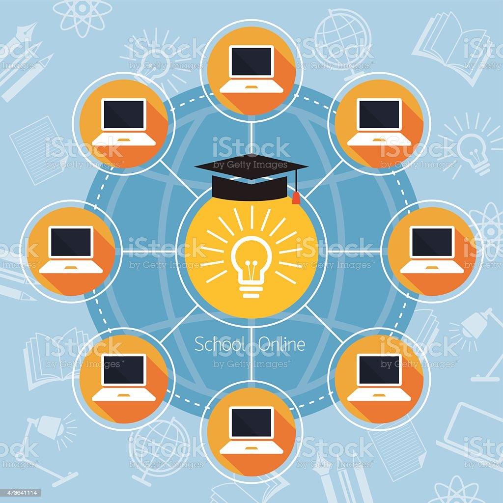 School Online E-Learning Connection Concept vector art illustration