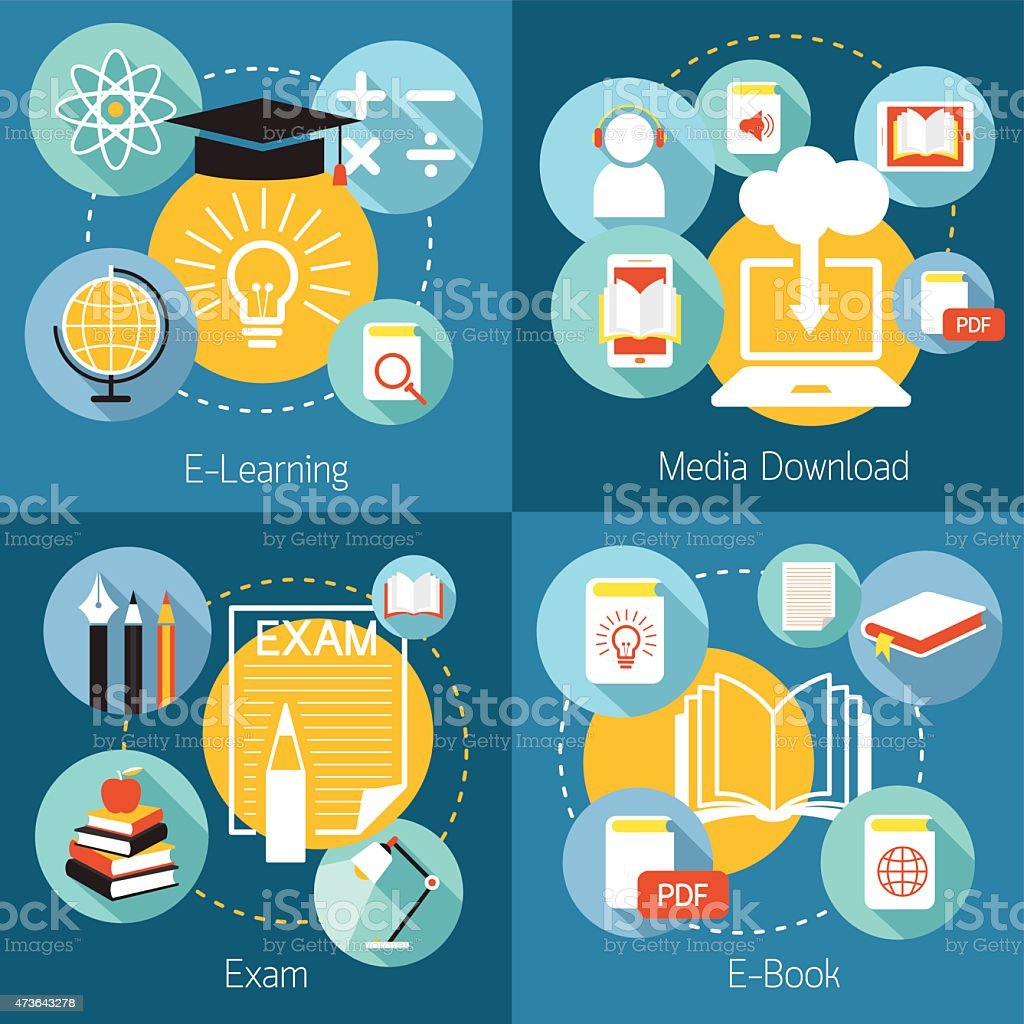 School Online, E-Learning, E-Book, Exam, Icons and Concept vector art illustration