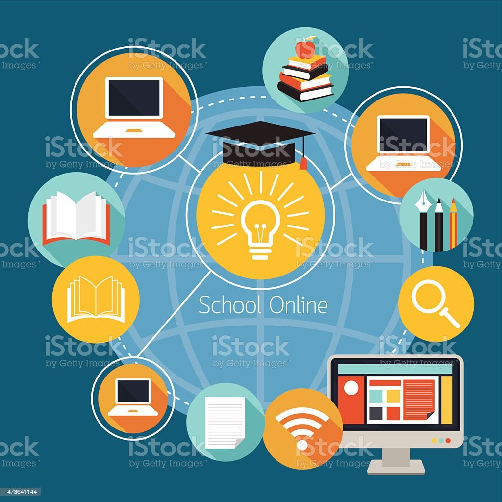 School Online E-Learning Icons and Objects vector art illustration