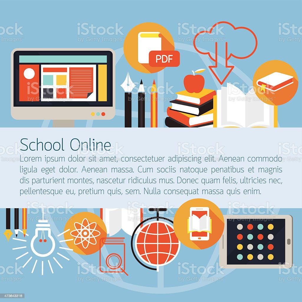 School Online E-Learning Objects Layout Background vector art illustration