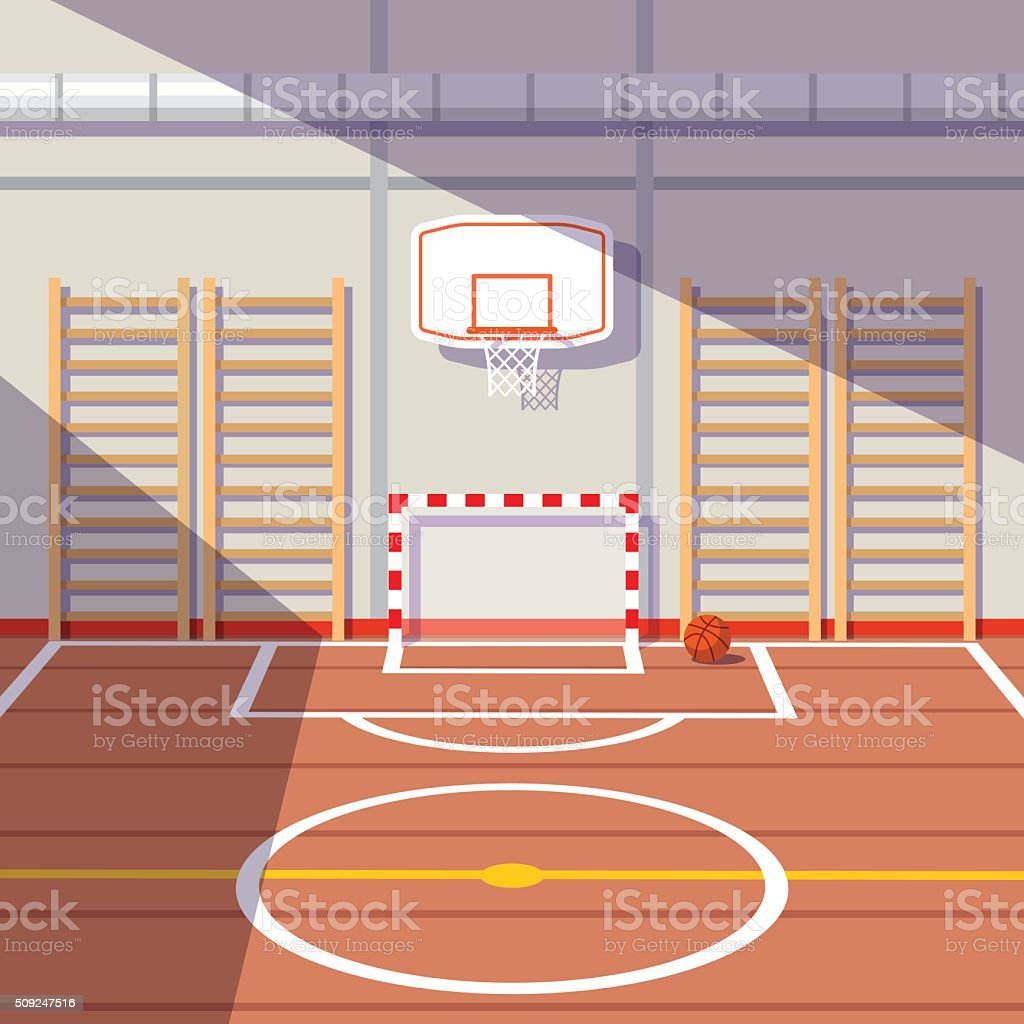 School or university gym hall vector art illustration