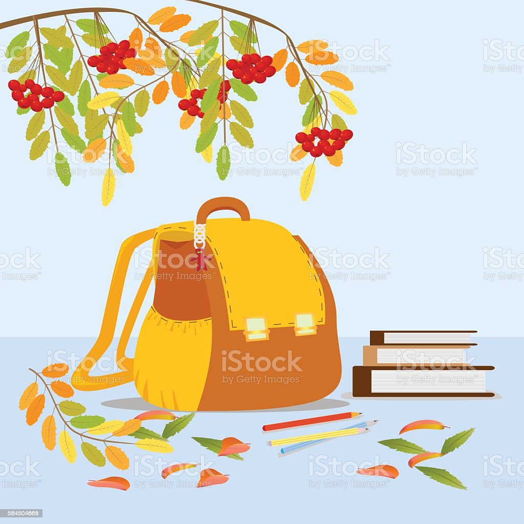 School orange backpack, books, pencils with autumn branch of Row royalty-free stock vector art