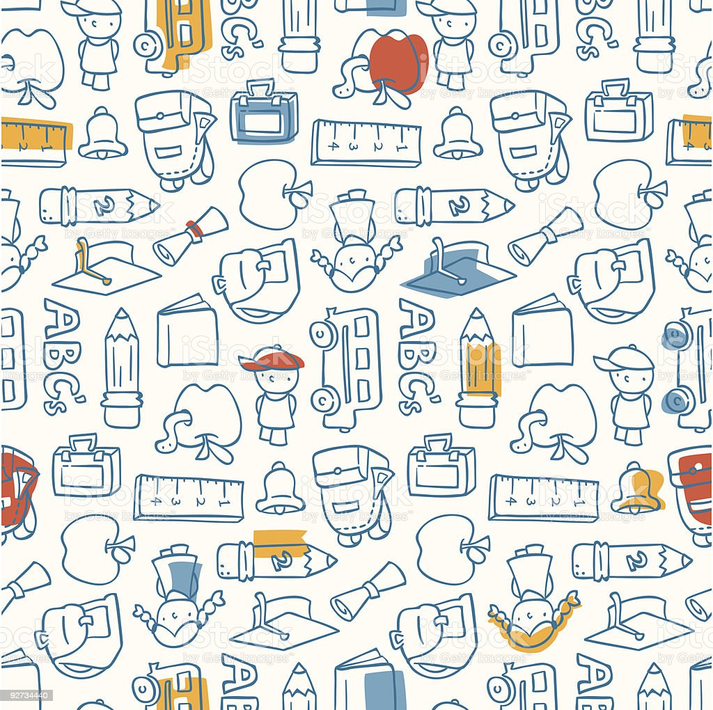 A school pattern background in white and blue vector art illustration
