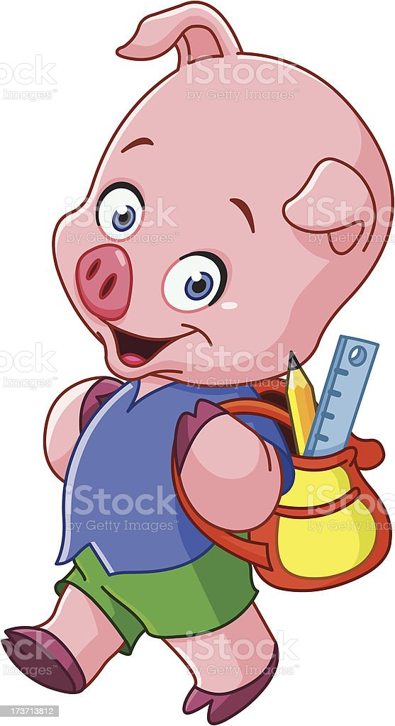School pig royalty-free stock vector art