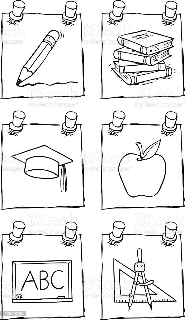 School Post-its vector art illustration