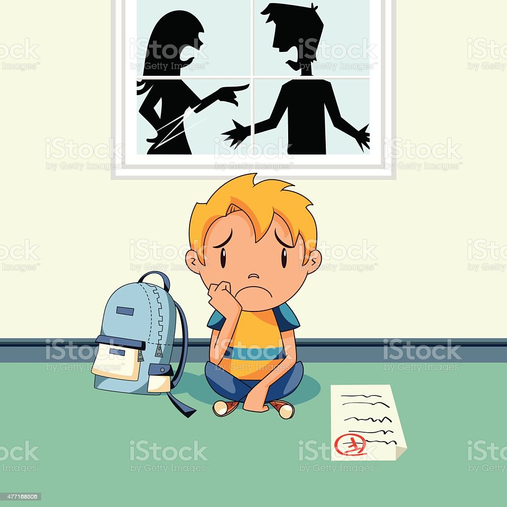 School problems, sad child vector art illustration