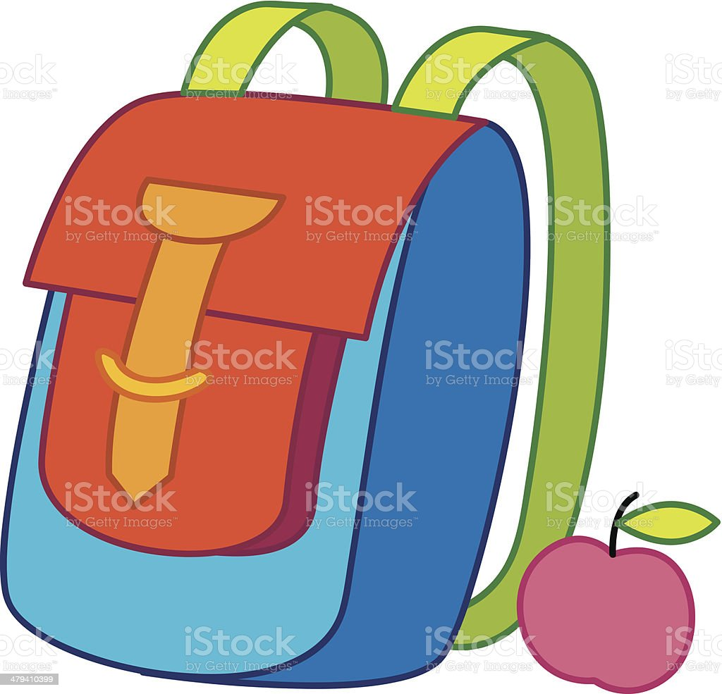 School - rucksack and apple royalty-free stock vector art