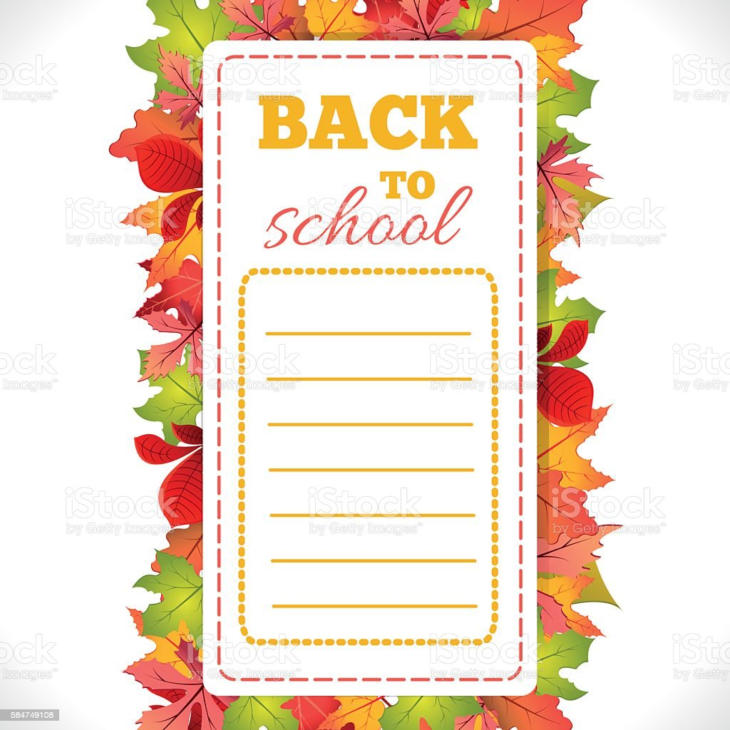 School Schedule with leaves stock vecteur libres de droits libre de droits