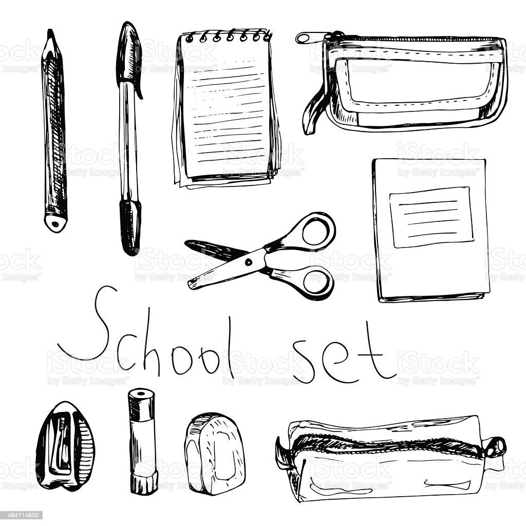 School set with different items vector art illustration