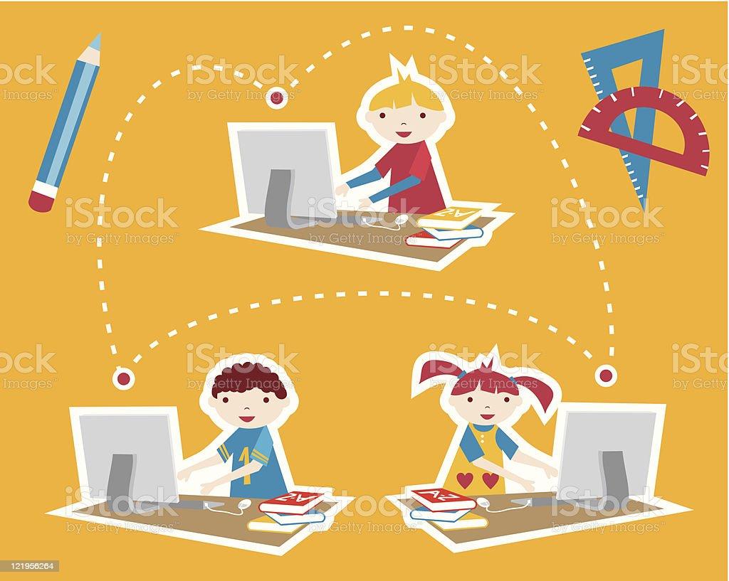 School social network communication royalty-free stock vector art