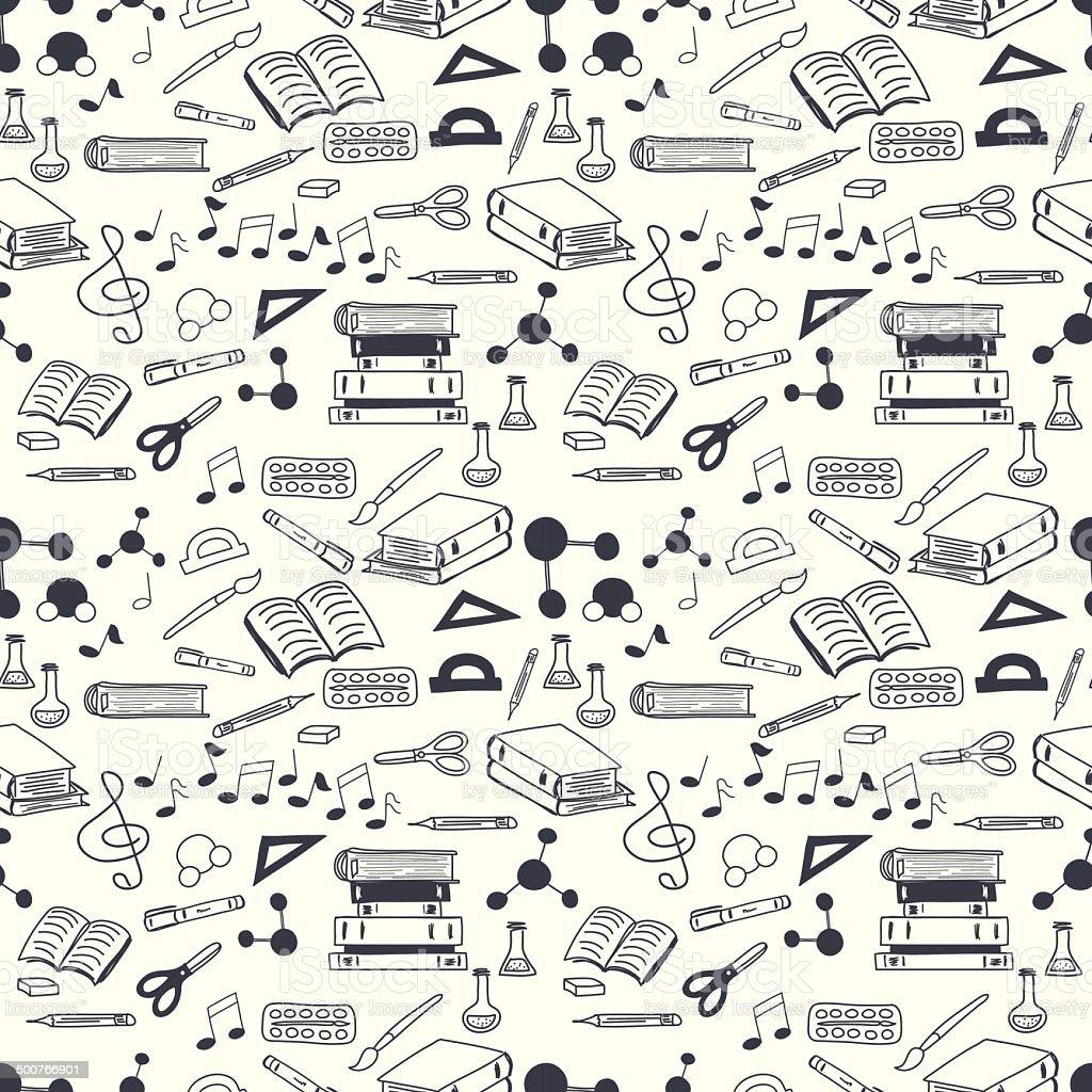 School stationary pattern vector art illustration
