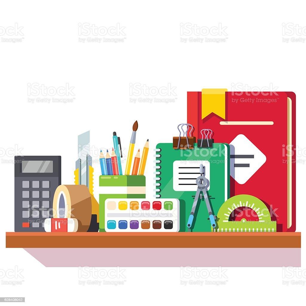 School student stationary supplies on the shelf vector art illustration